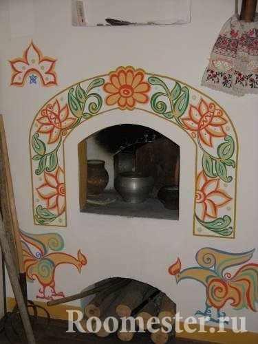 Декор печи росписью