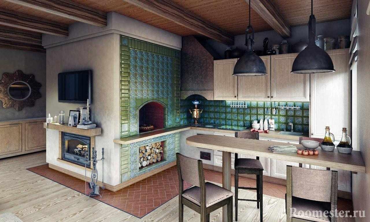 Печь с изразцами в кухне