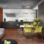 Прожекторы в интерьере кухни-гостиной