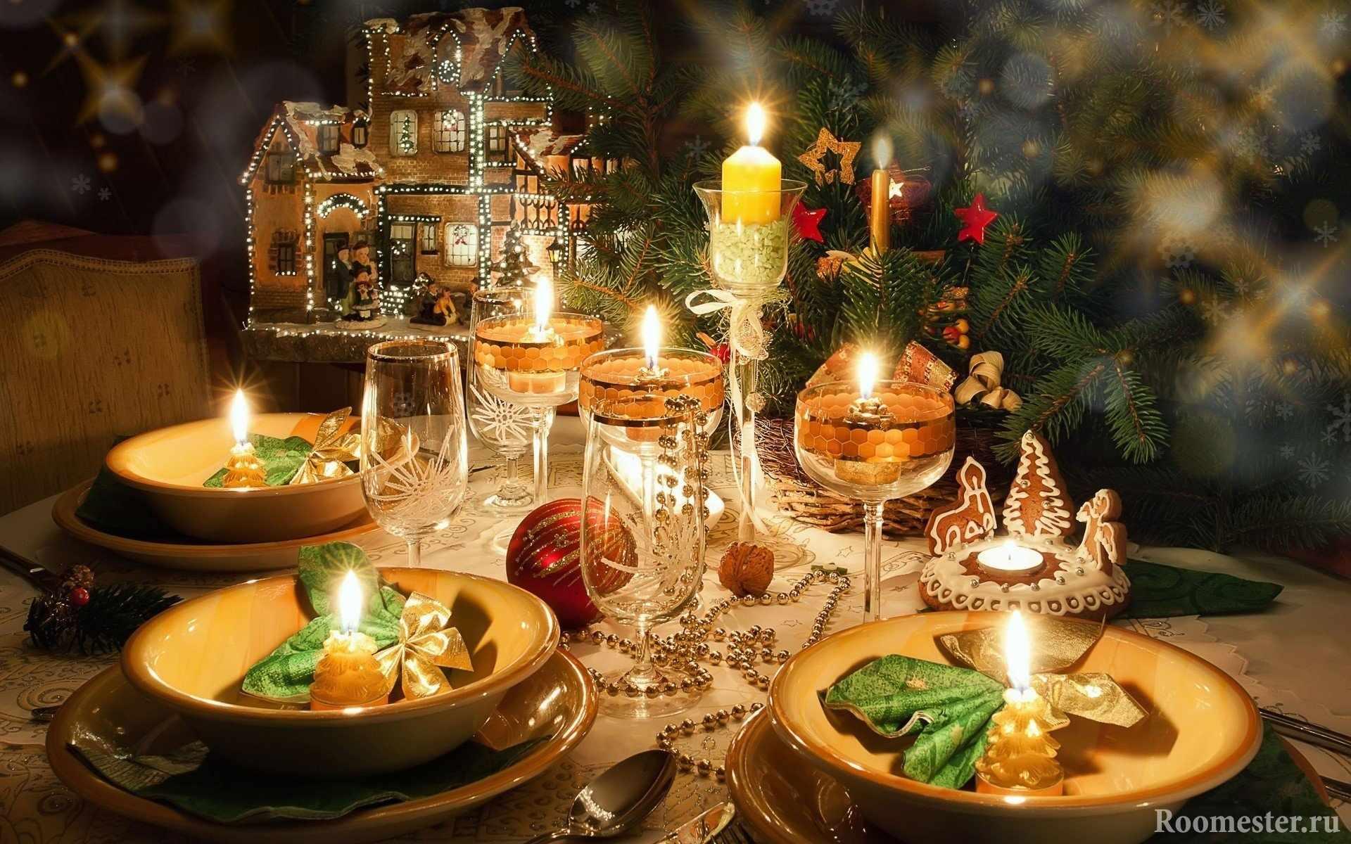 Свечи неотъемлемая часть новогодней сервировки