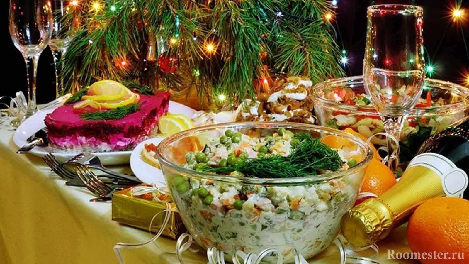 Традиционные салаты к новому году