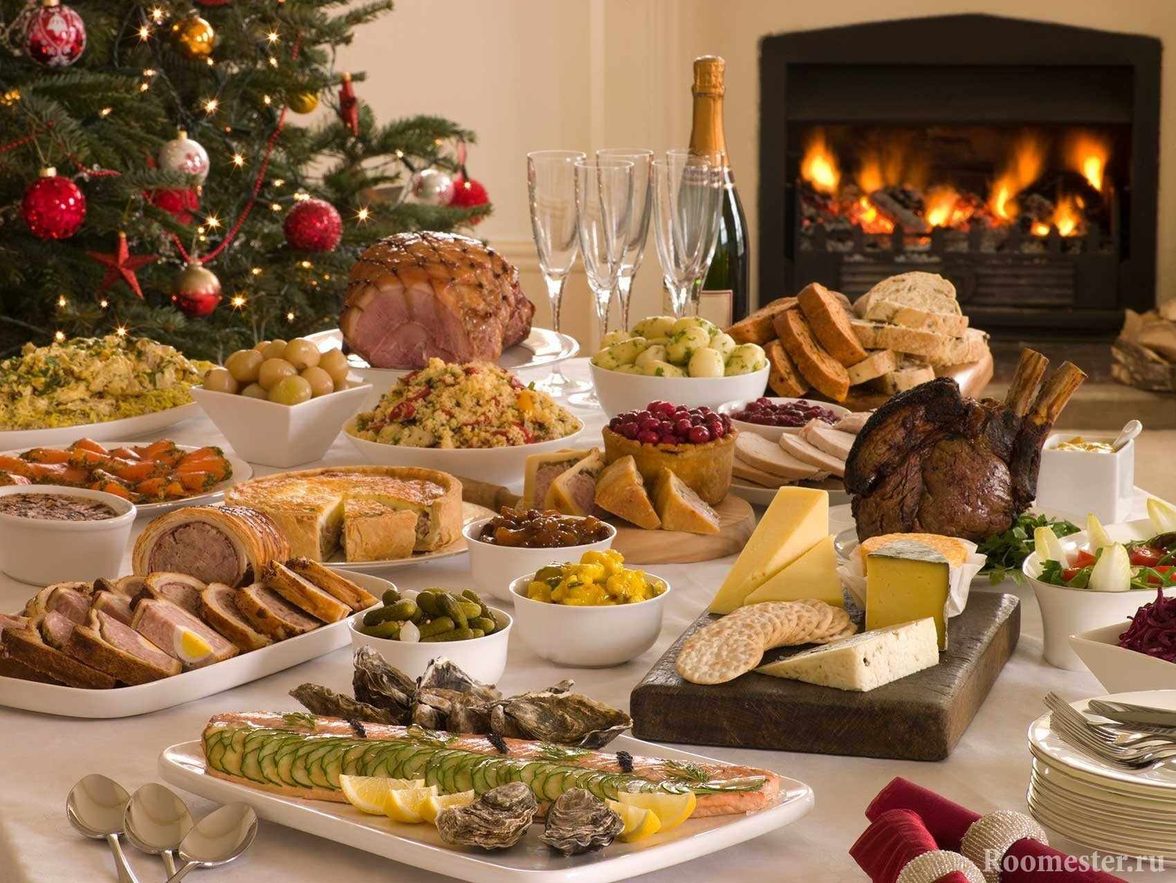 Изобилие закусок на новый год