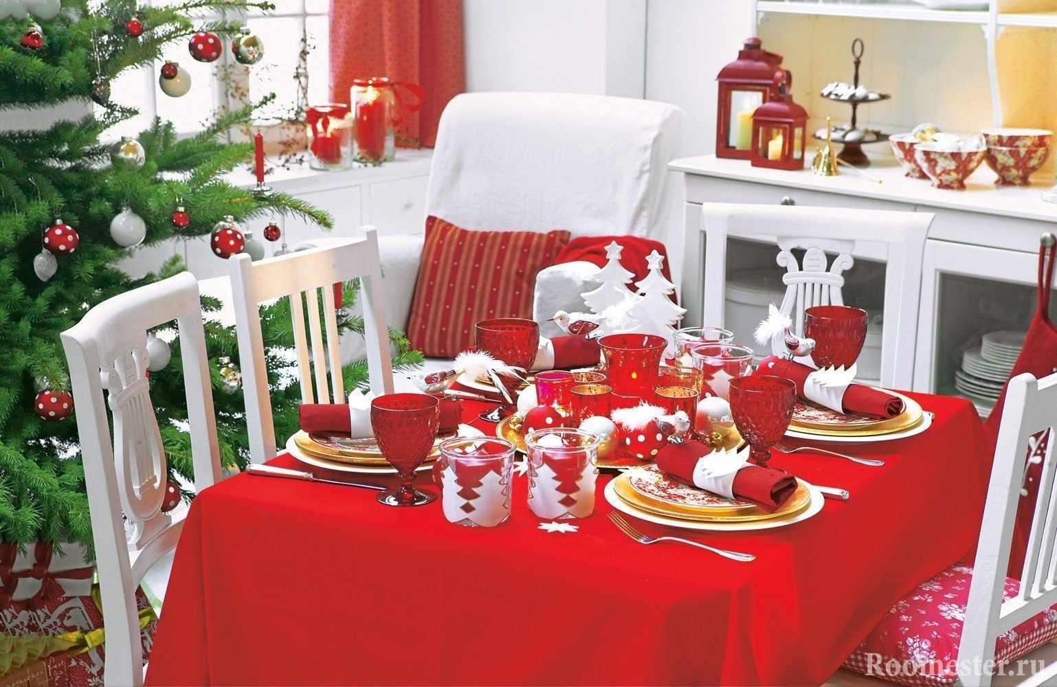Оформление новогоднего стола в красном цвете