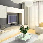 Сочетание серой стены и белой мебели в гостиной