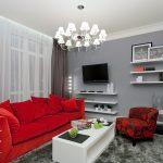 Красный диван в сером интерьере