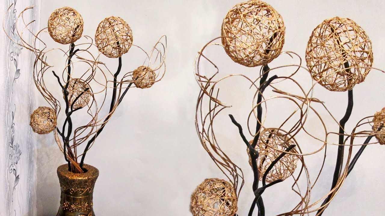 Икебана с шарами из ниток