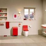 Красный в интерьере туалета