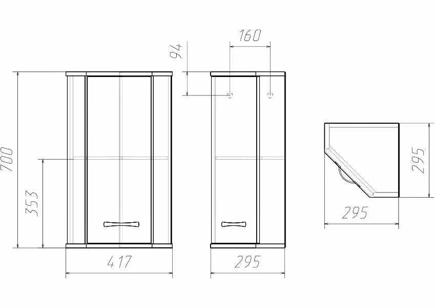 Чертеж углового шкафа в туалет