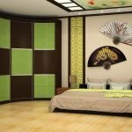 Интерьер спальни со шкафом-купе в коричнево-салатовый квадрат