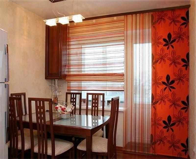Японские панели на кухне с балконом