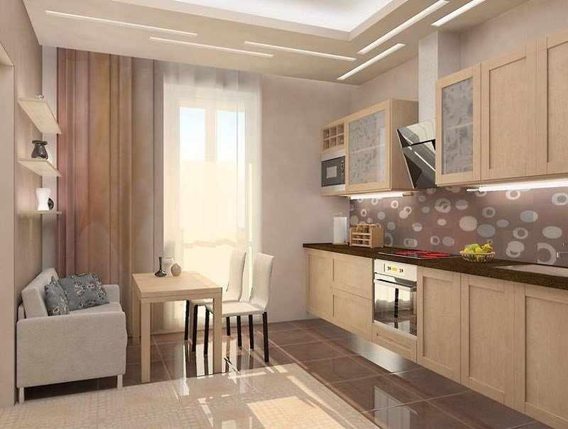 Шторы в интерьере кухни с балконом
