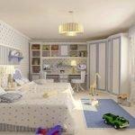 Бело-голубая спальня для мальчика