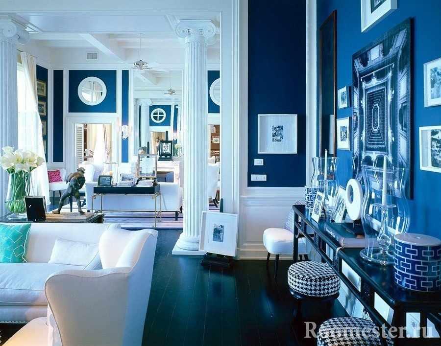 Синие стены в интерьере гостиной