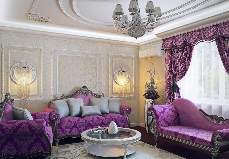 Сиреневые диваны в гостиной