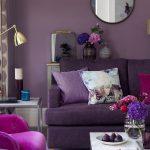 Диван и кресло фиолетового цвета