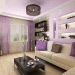 Сиреневые шторы в гостиной