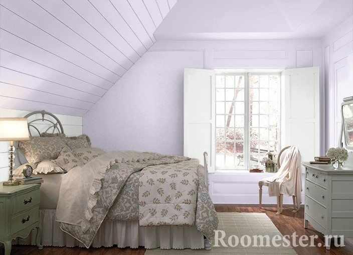 Сиреневая спальная комната