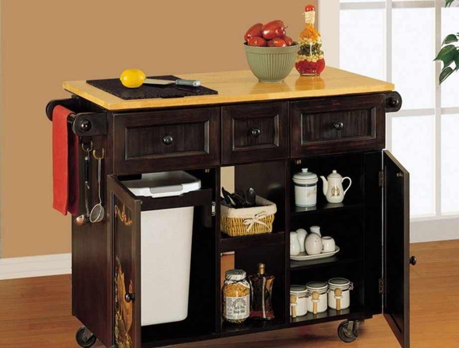 Мобильный стол-тумба на кухне