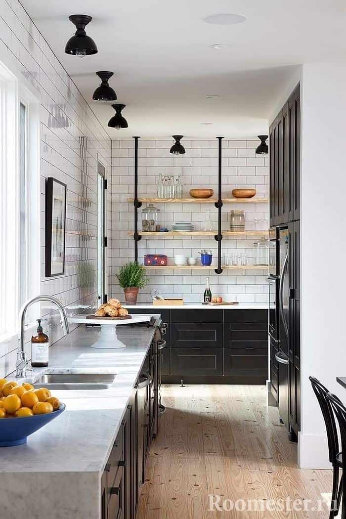 Дизайн узкой кухни в скандинавском стиле