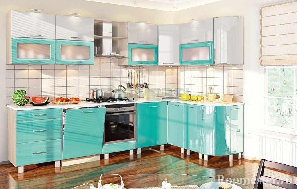 Бирюзовый цвет в кухне