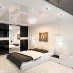 Интерьер спальни в белых и темных тонах