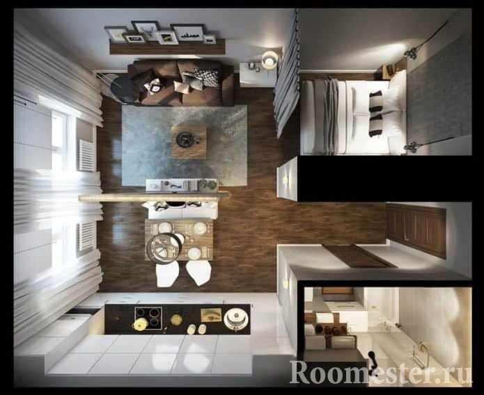 Пример планировки однокомнатной квартиры в современном дизайне