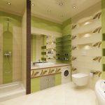 Полки с подсветкой в стене ванной