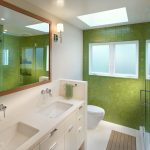 Бело-зеленый интерьер ванной
