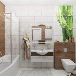 Плитка с бамбуком на стене в ванной