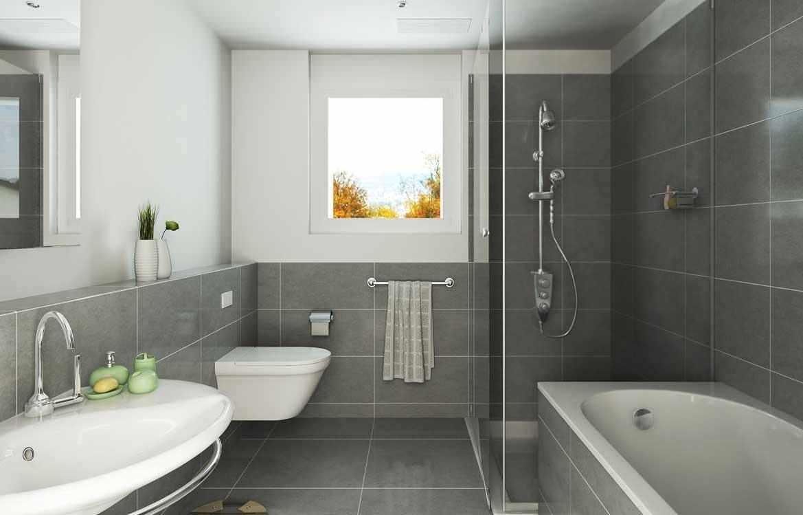 Бело-серый интерьер ванной
