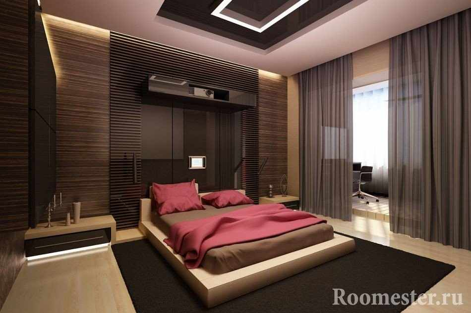 Интерьер спальной комнаты в стиле хай-тек