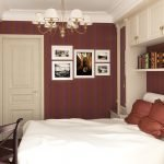 Бордовые стены в маленькой спальне