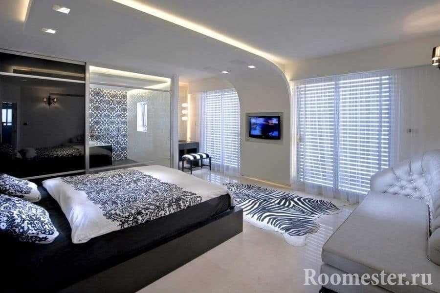 Светодиодная подсветка в спальне-гостиной в одной комнате