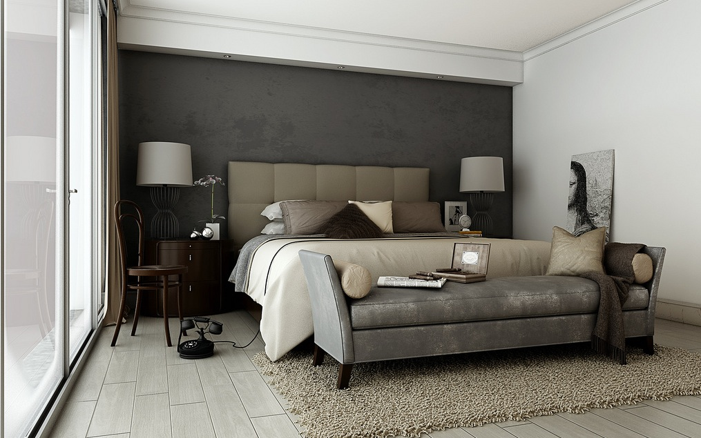 Строгий текстиль для спальни