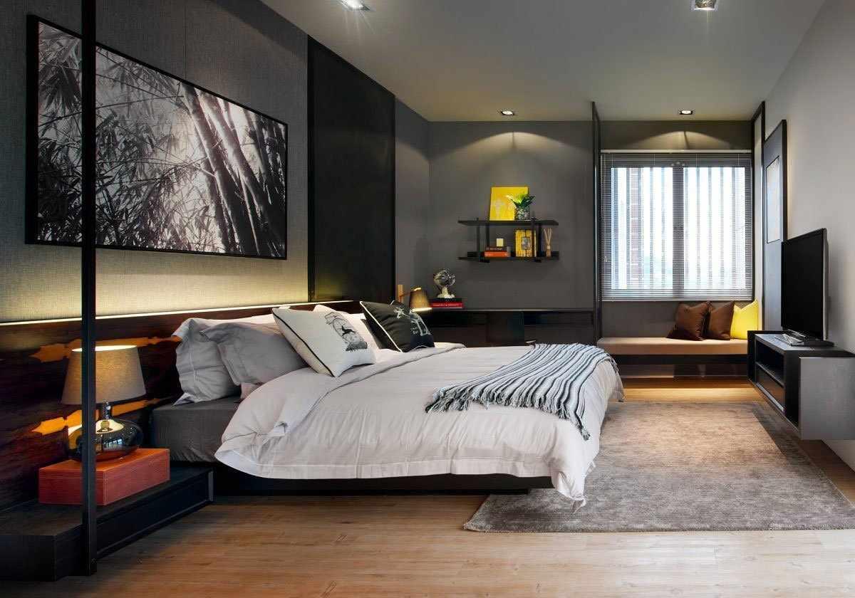 Красивая спальня в серых тонах