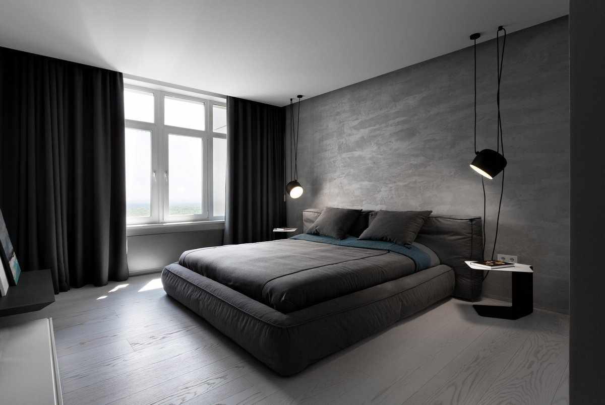 Черный цвет в дизайне спальни