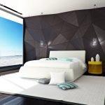 Геометрический рисунок на стене в спальне