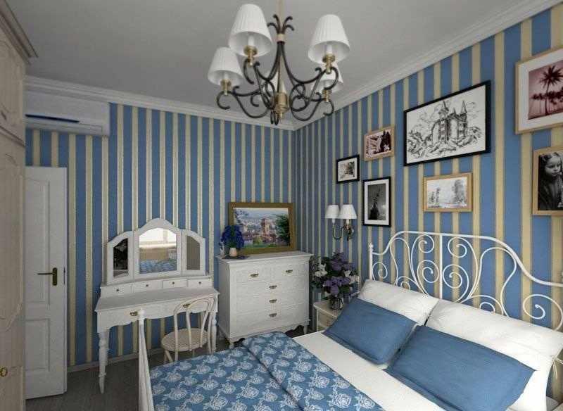 Синяя спальня в стиле прованс