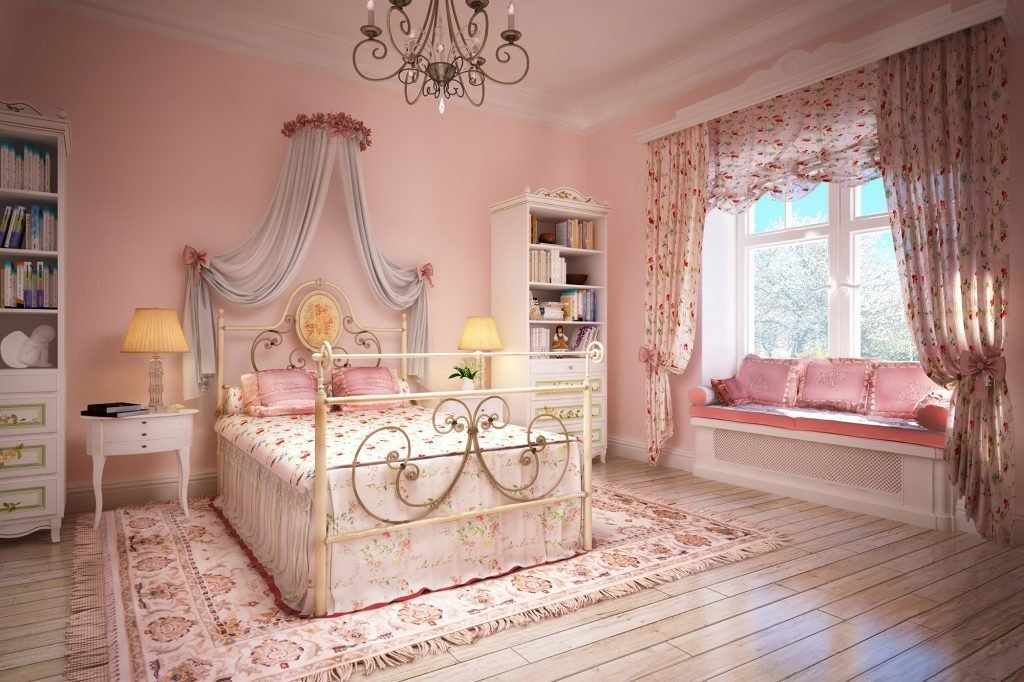 Розовая спальня в стиле прованс