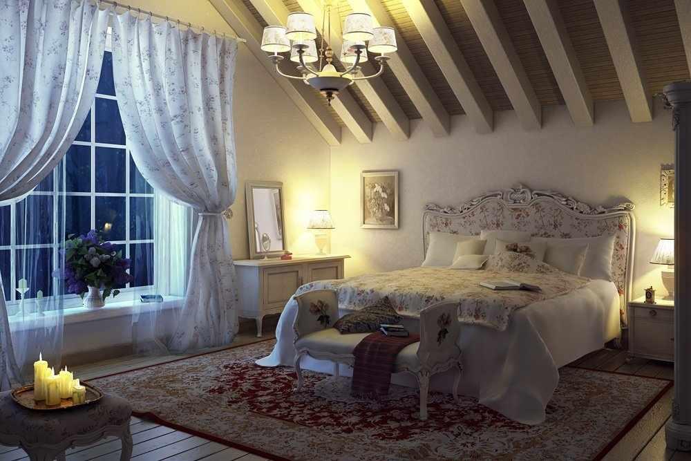 Светлые стены в спальне в стиле прованс