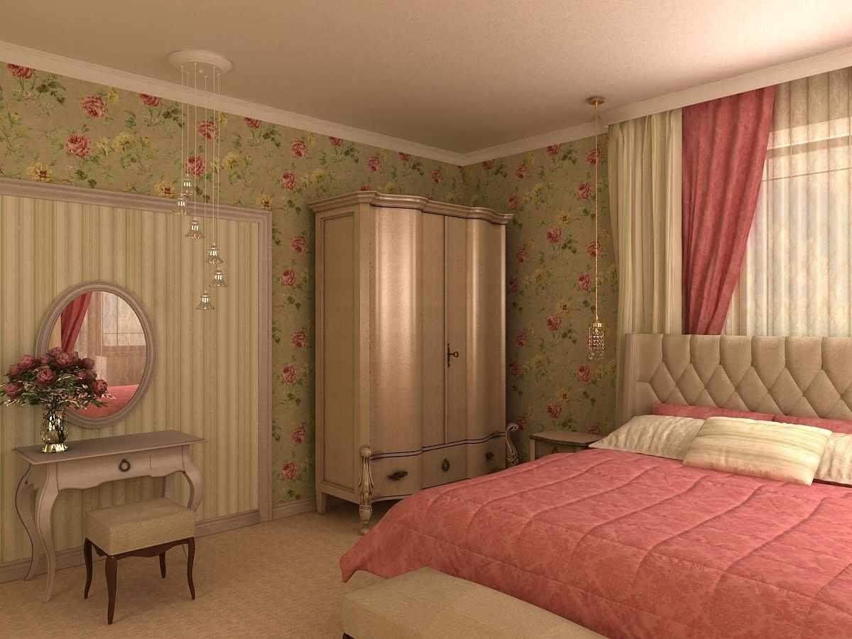 Светлый потолок в спальне в стиле прованс