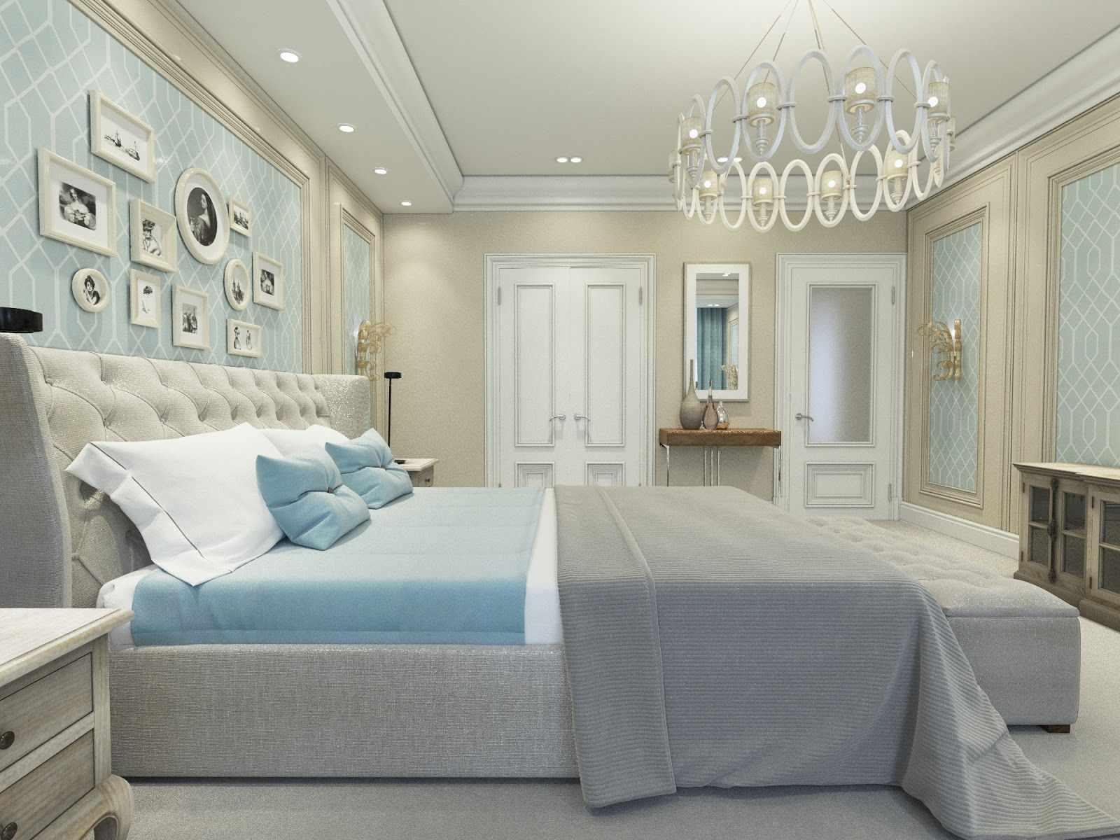 Светло-голубая спальня