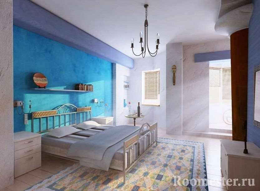 Спальня в сине-сиреневых тонах