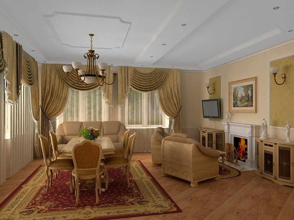Кремовая мебель в интерьере в сталинском стиле