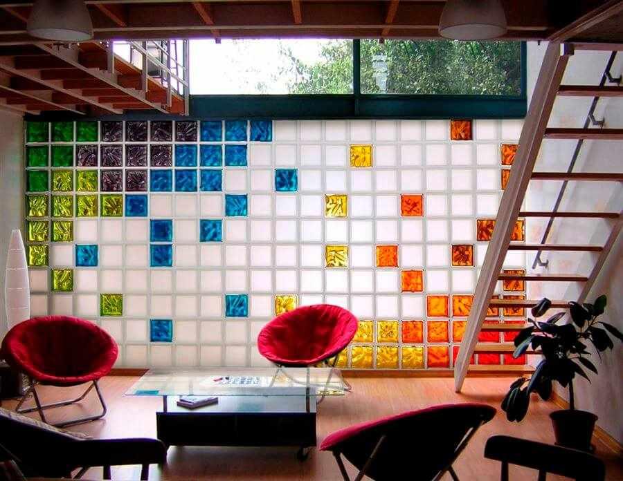 Стеклоблоки в интерьере в стиле модерн