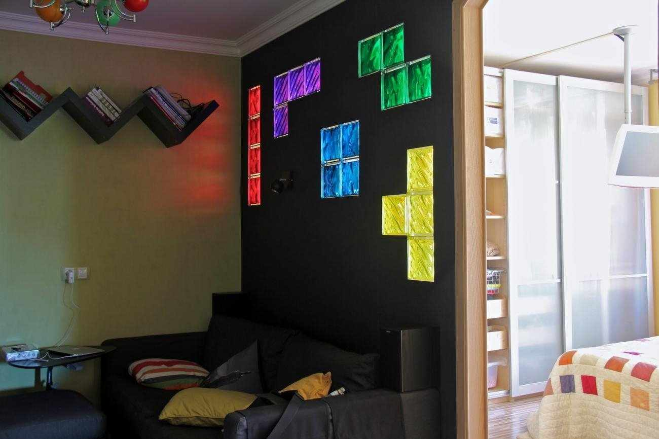 Оформление интерьера стеклоблоками
