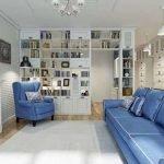 Белые стены и синяя мебель