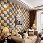 Разноцветная стена в гостиной