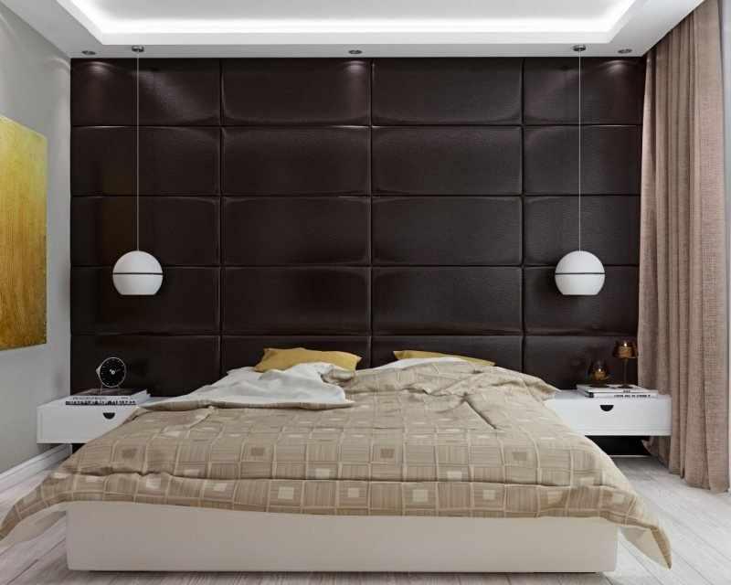 Кожаные панели в интерьере спальни