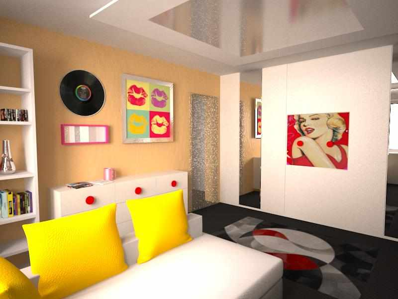Белый диван с желтыми подушками